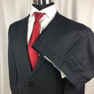 New Tommy Hilfiger Mens 43L Pinstripe Suit Wool